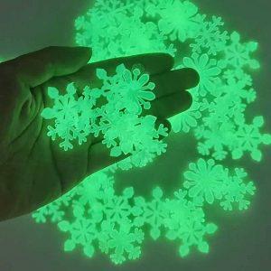 50pc 3D Snowflake Luminous Wall Stickers
