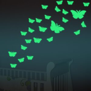 Pack of 8 - Glow In The Dark Butterfly Fluorescent Decal Art Wall Stickers