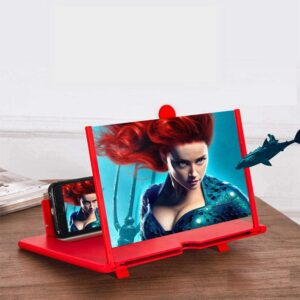 HD Cell Phone Screen Magnifier Stand Base, 3D Mobile Enlarger Projector for Movies Videos, Foldable Phone Stand Screen Amplifier