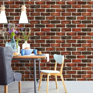 2Pc 3D Wall Paper Brick Stone Rustic Effect Self-adhesive Wall Sticker